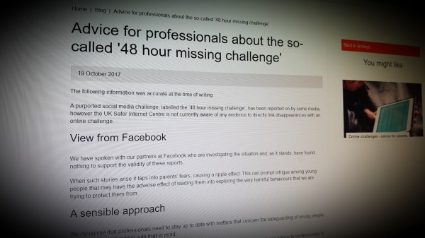 Advice for professionals about the so-called '48 hour missing challenge'