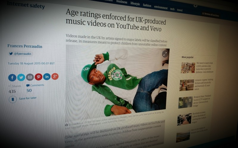 Age ratings enforced for UK-produced music videos on YouTube and Vevo