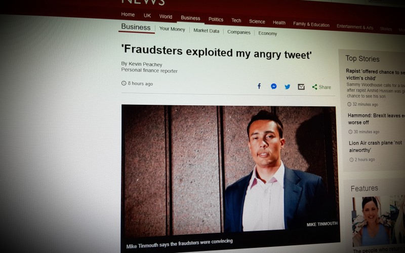 'Fraudsters exploited my angry tweet'