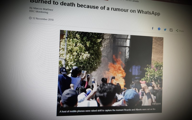Burned to death because of a rumour on WhatsApp