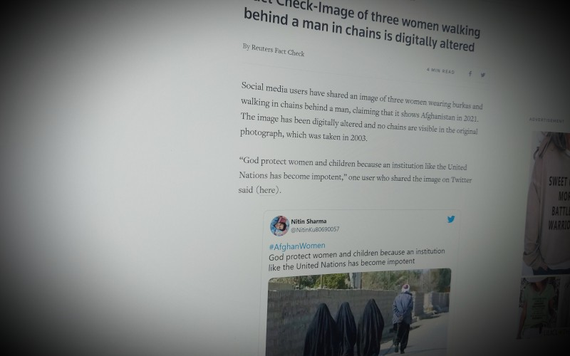 Fact Check-Image of three women walking behind a man in chains is digitally altered