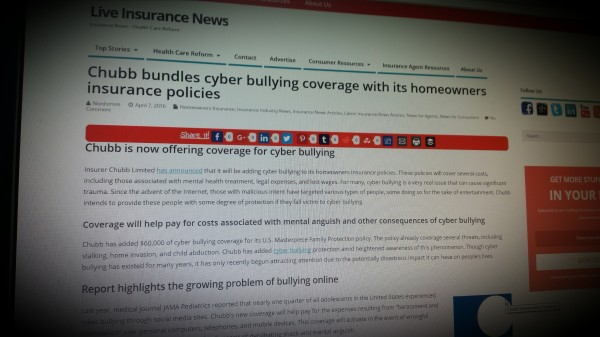 Chubb bundles cyber bullying coverage with its homeowners insurance policies