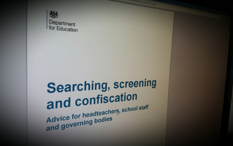 Searching, screening and confiscation. Guidance from Dept of Education UK