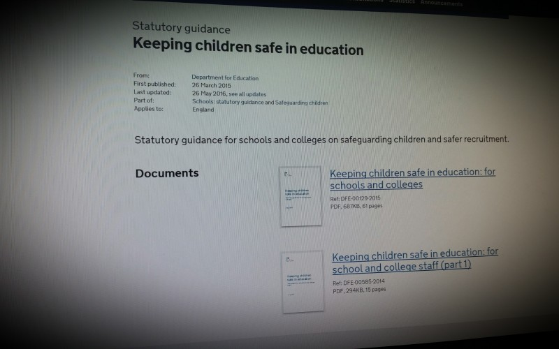 Statutory guidance for schools and colleges on safeguarding children and safer recruitment - from September 2016