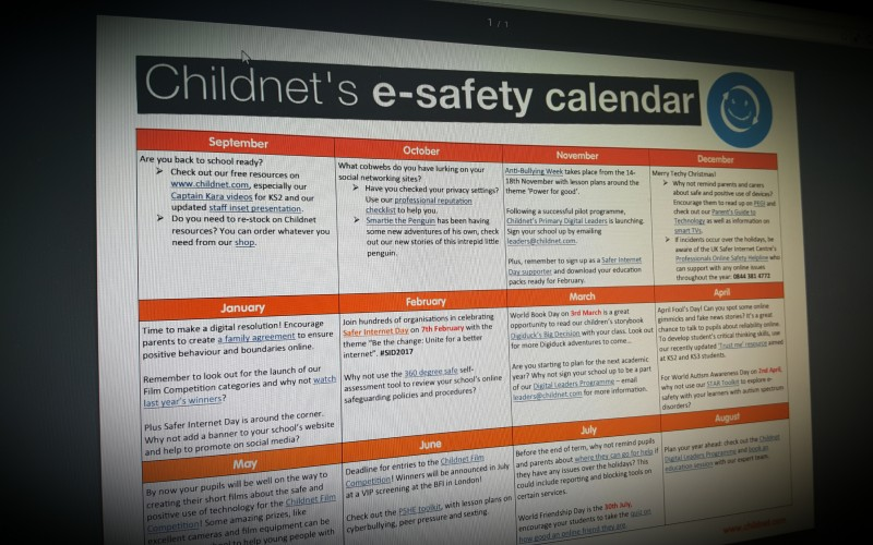 Childnet's esafety calendar for schools