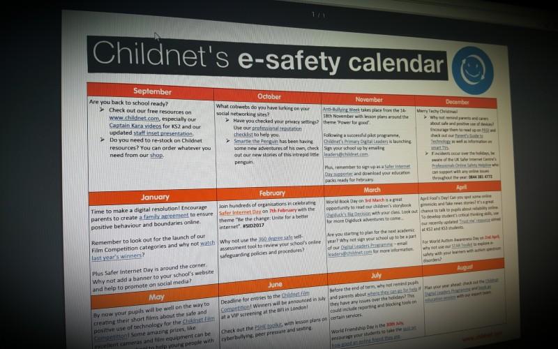 Childnet's esafety calendar for schools