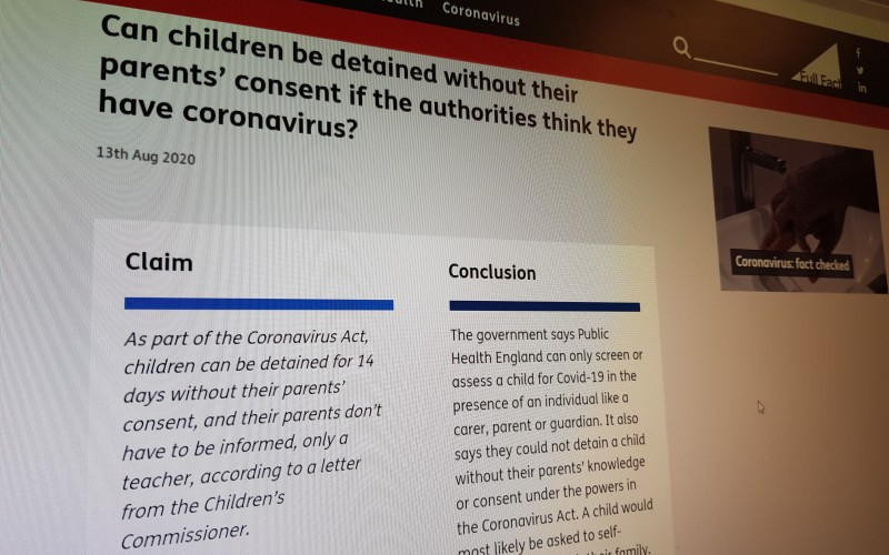 Can children be detained without their parents' consent if the authorities think they have coronavirus?