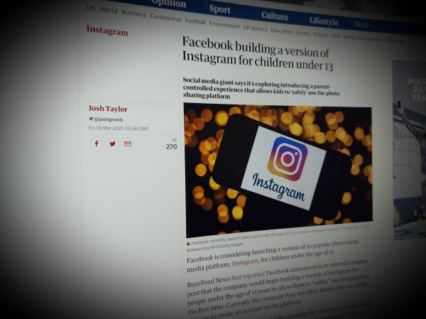 Facebook building a version of Instagram for children under 13