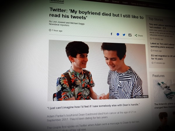 Twitter: 'My boyfriend died but I still like to read his tweets'
