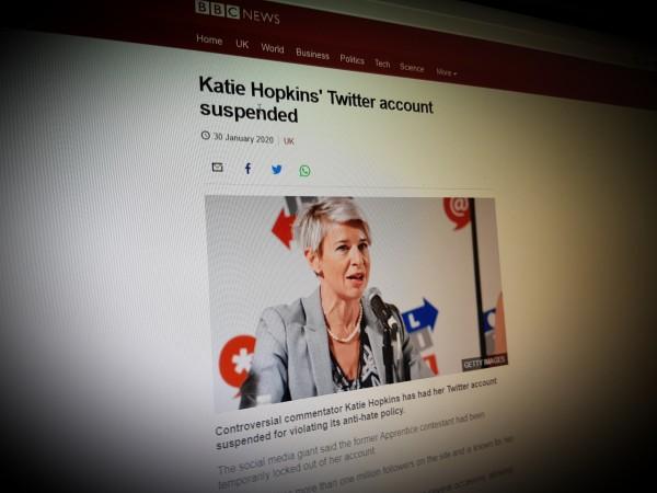 Katie Hopkins' Twitter account suspended