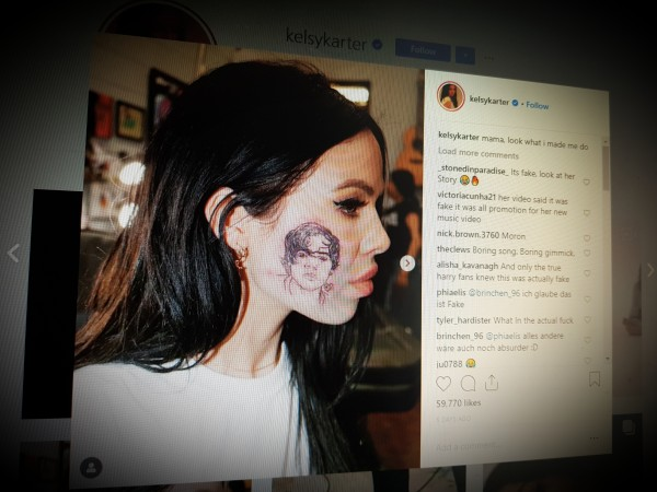 Did Kelsy Karter have a tattoo of Harry Styles on her face?