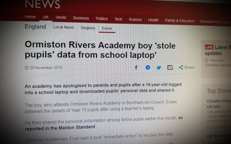 Ormiston Rivers Academy boy 'stole pupils' data from school laptop'
