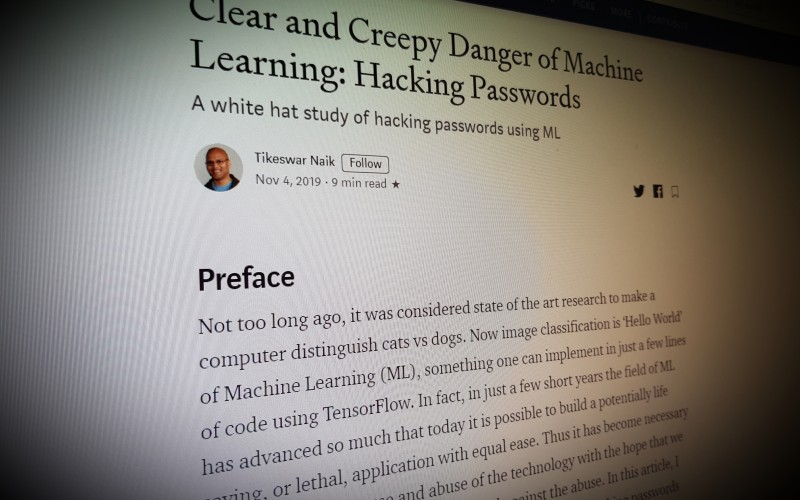 Clear and Creepy Danger of Machine Learning: Hacking Passwords