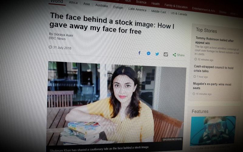 The face behind a stock image: How I gave away my face for free
