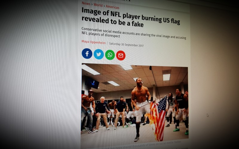 Image of NFL player burning US flag revealed to be a fake