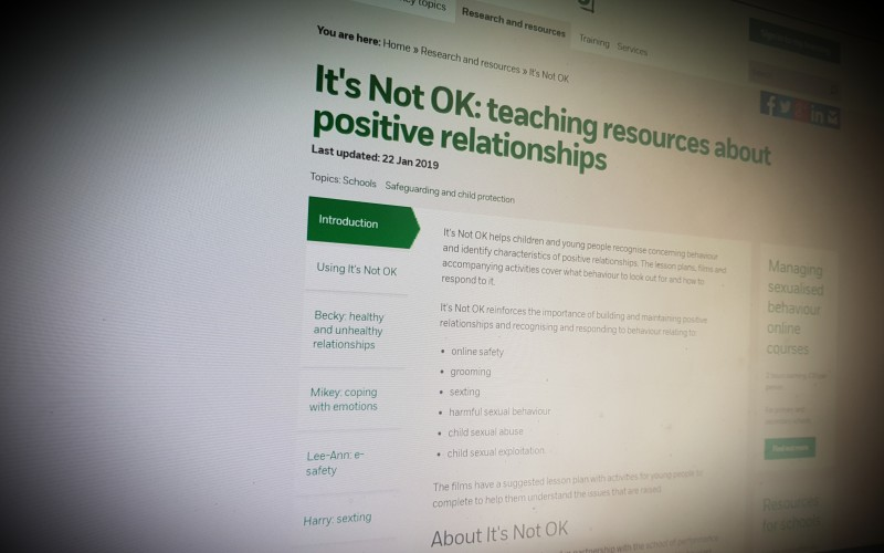 It's Not OK: teaching resources about positive relationships