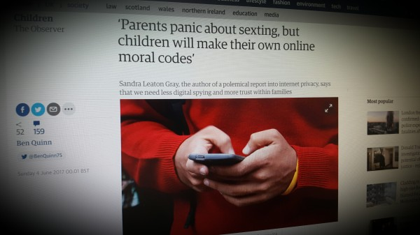 'Parents panic about sexting, but children will make their own online moral codes'