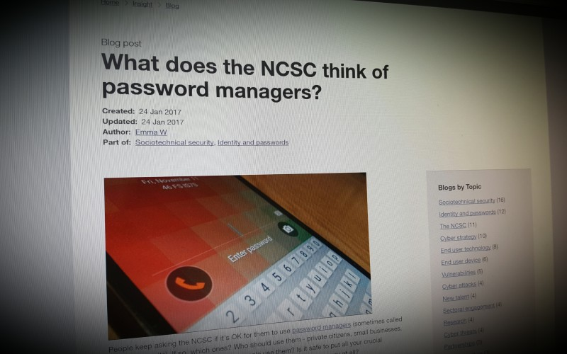 What does the NCSC think of password managers?