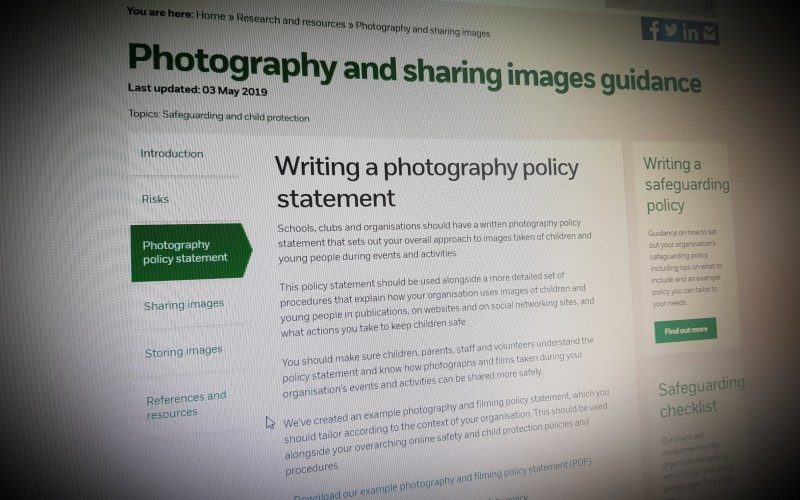 Photography and sharing images guidance