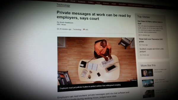 Private messages at work can be read by employers, says court