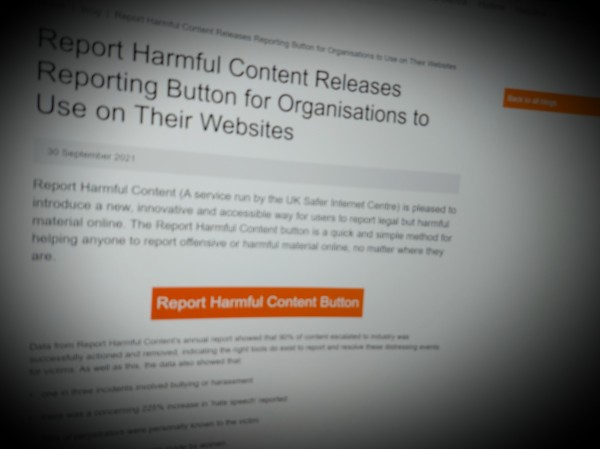 Report Harmful Content Releases Reporting Button for Organisations to Use on Their Websites