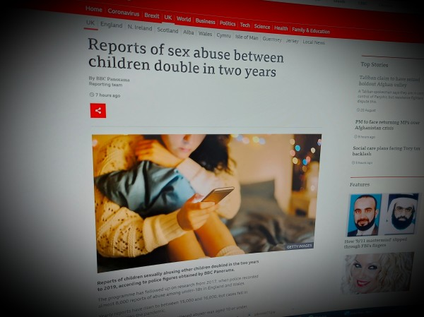 Reports of sex abuse between children double in two years