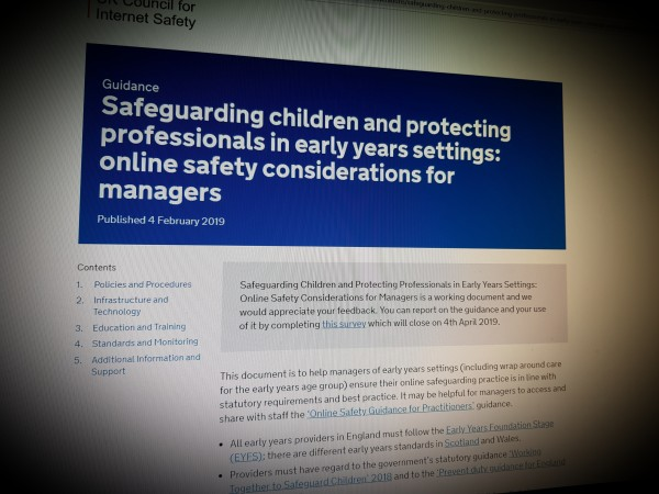 Safeguarding children and protecting professionals in early years settings: online safety considerations for managers