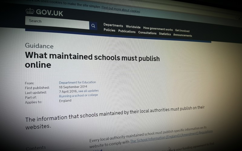 What maintained schools must publish online