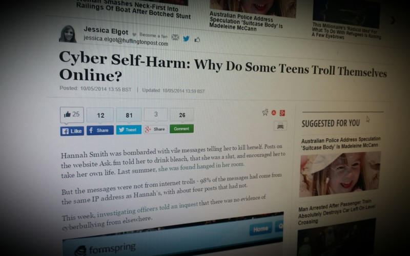 Cyber Self-Harm: Why Do Some Teens Troll Themselves Online?