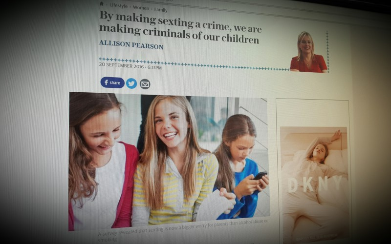 By making sexting a crime, we are making criminals of our children
