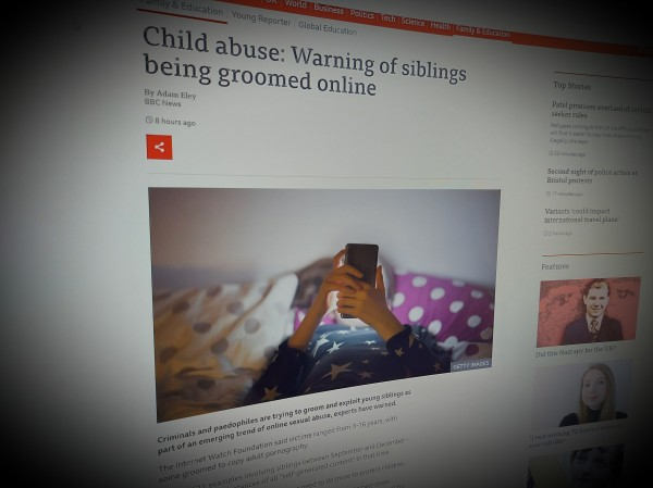 Child abuse: Warning of siblings being groomed online