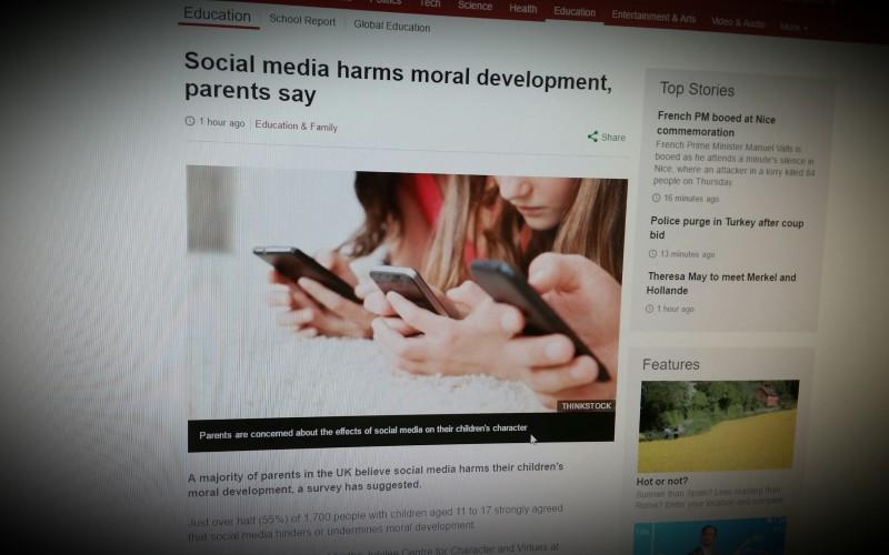 Social media harms moral development, parents say