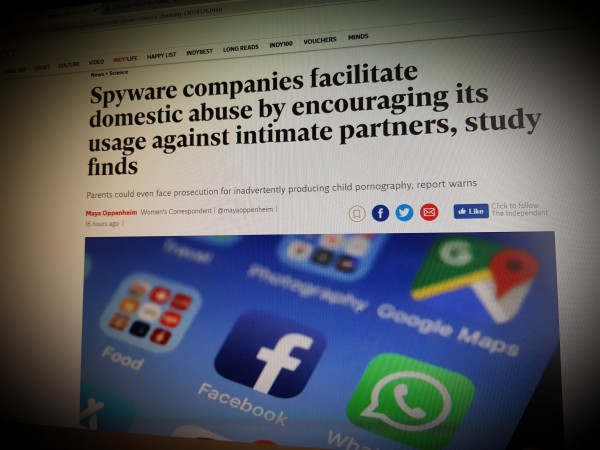 Spyware companies facilitate domestic abuse by encouraging its usage against intimate partners