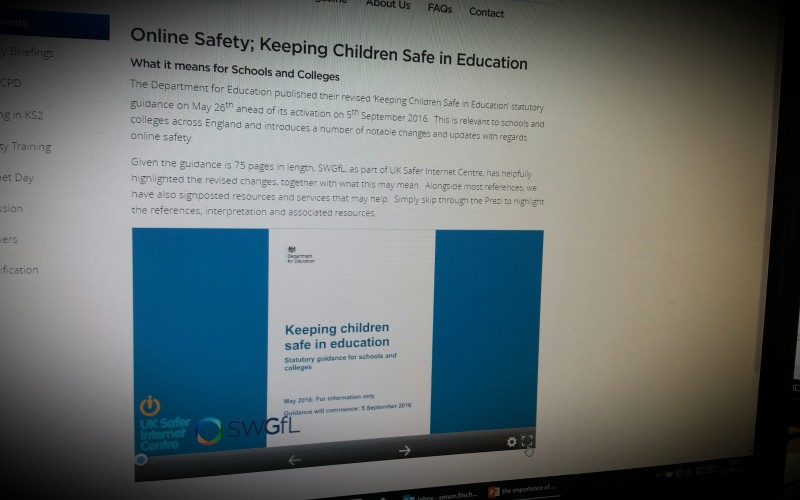 Online Safety; Keeping Children Safe in Education  What it means for Schools and Colleges