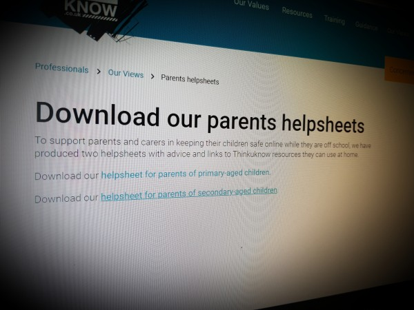 Download Thinkuknow parents helpsheets