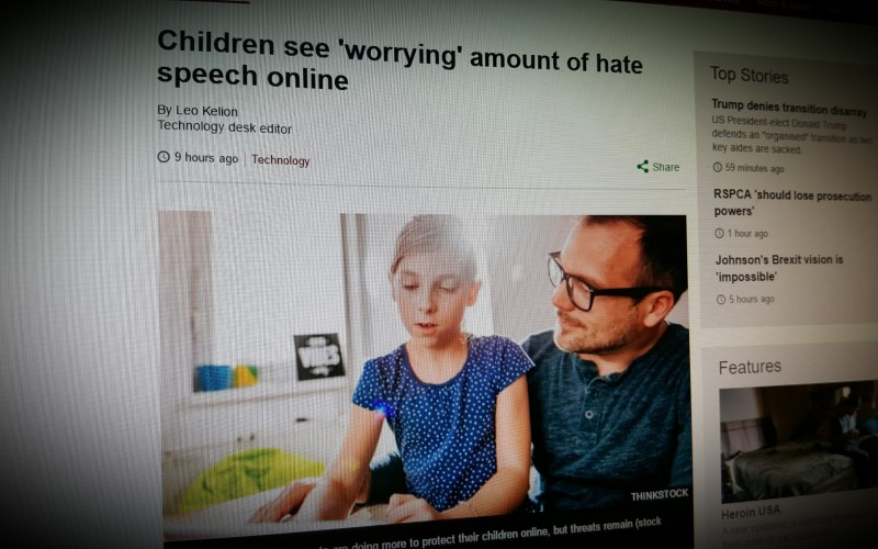 Children see 'worrying' amount of hate speech online